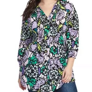 Melissa Mccarthy floral pintuck tie back blouse 1X